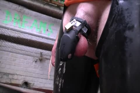 Cb Locked serf Pissing And Playing With dildo